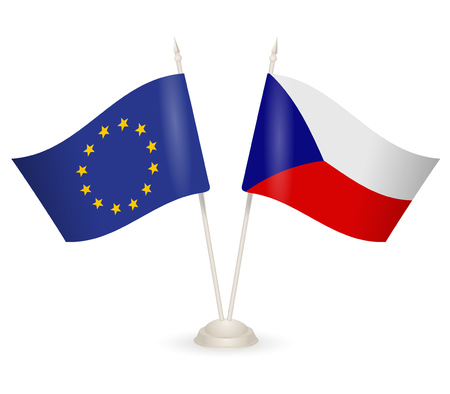 between: Table stand with flags of Czech Republic  and US. Symbolizing the cooperation between the two countries. Illustration