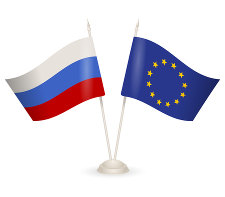 between: Table stand with flags of Russia and European Union. Symbolizing the cooperation between the two countries.