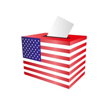 voting paper: Cast your vote. ballot paper. putting voting paper in the ballot box. Elections in the USA Illustration