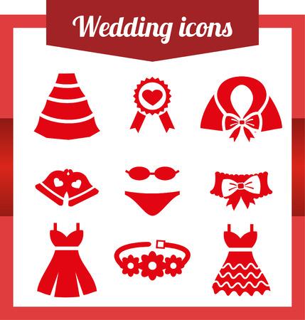 garter belt: Set wedding icons. Bell Dress garter wedding underwear coat cloak sash belt medal Flat isolated on white background
