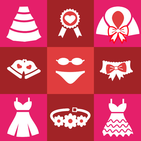 cloak: Set wedding icons. Bell Dress garter wedding underwear coat cloak sash belt medal Flat isolated on red background