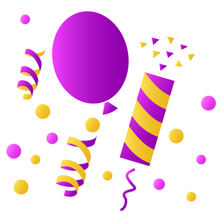 party poppers: Set icons for the birthday celebration. balloon, party poppers, confetti. isolated on white background.