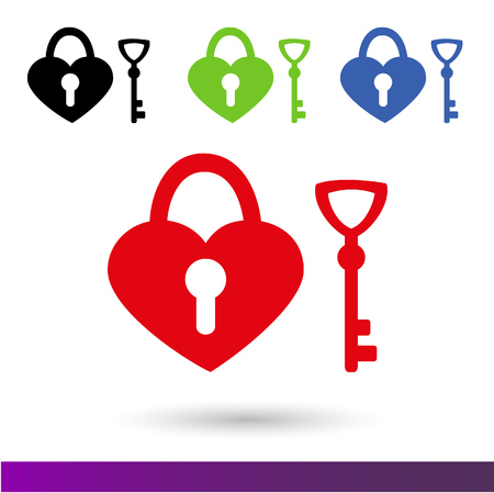 shop keeper: Set color icons Wedding lock of happiness. isolated on white background. Stock Photo