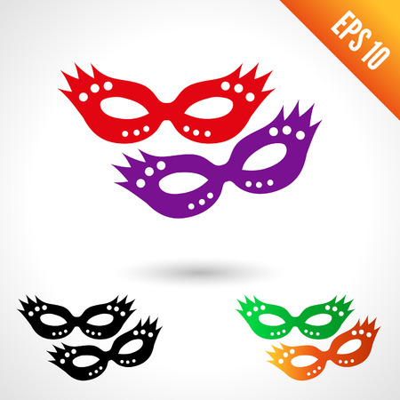 masquerade masks: Party masquerade masks. Set of six silhouettes red, black, green, violet, orange. isolated on white background.