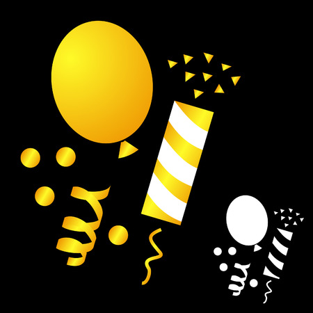 party poppers: Set icons for the birthday celebration. balloon, party poppers, confetti on black background. Illustration