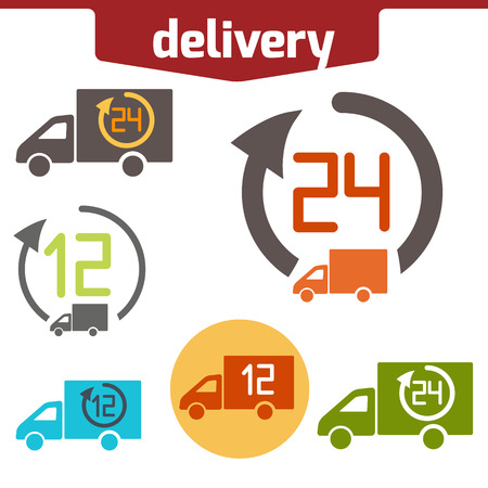 solated on white: Icons set of Fast delivery. The business. icar and arrow solated on white background. Illustration