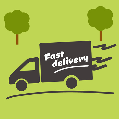 overnight delivery: Icon of Fast delivery. The business. Car on green background.