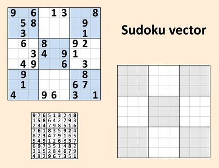 teaser: Symmetrical Sudoku with answers. set Blank template. Illustration
