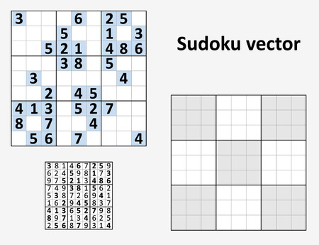 symmetrical: Symmetrical Sudoku with answers. set Blank template. Illustration