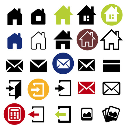 black pictogram: Web icons set - house letter sign arrow email. Vector Minimalism. Isolated on white and black background.