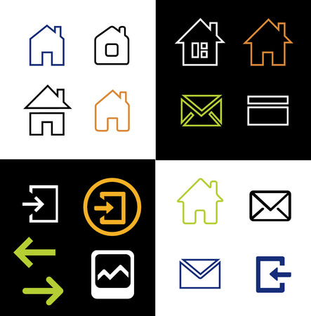 Outline web icons set - house letter sign arrow email. Vector Minimalism. Isolated on white and black background. Vetores