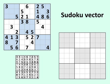 symmetrical: Symmetrical Sudoku with answers Vector set. Blank template. Illustration