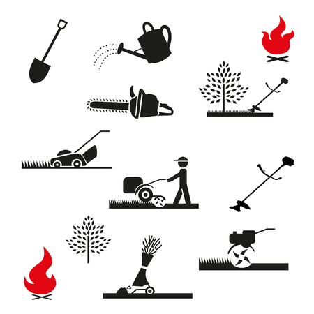 electric trimmer: Set of icons of garden tools and equipment. Gardening icon. Isolated on white background.