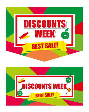 red ribbon week: Design banner template discounts on a white background. big sale, isolated. Sale and special offer.