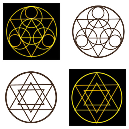 ancient yoga: Set occult symbols and pentacles on black and white background.