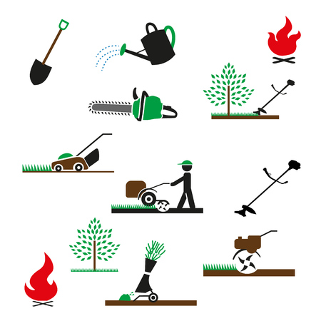 Set van iconen van tuingereedschap en apparatuur. Tuinieren pictogram. Geïsoleerd op een witte achtergrond.