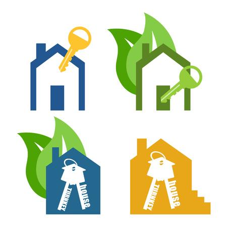 eco home: Vector icon key. house turnkey. turnkey illustration. Eco Home turnkey Flat design style.