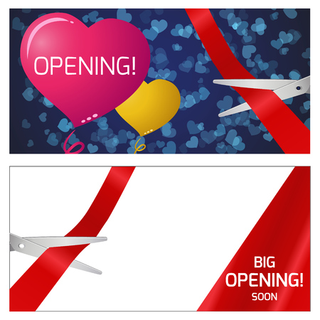 grand sale icon: Vector illustration of the opening. Red and yellow balloons. scissors and red ribbon. Illustration