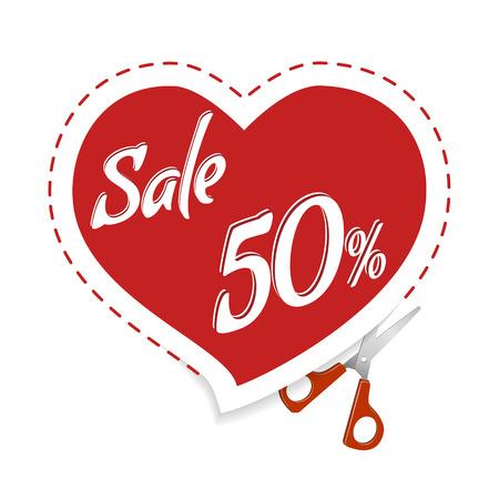 Couper les réductions d'autocollants. Vente bannière rouge coeur, ciseaux. Vente et offre spéciale. Jusqu'à 50% de réduction.