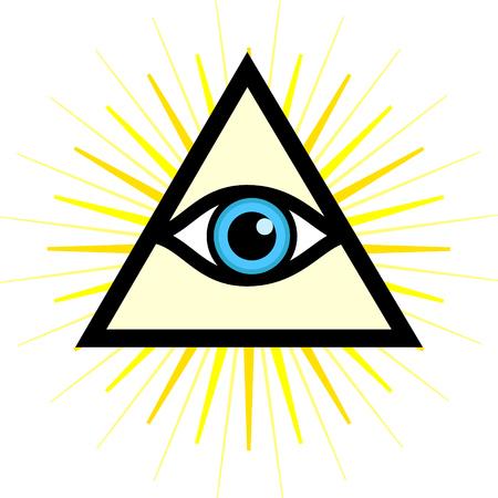 Vector symbol - All seeing eye. Sign - third eye.