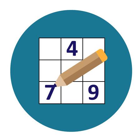 symmetrical: Symmetrical Sudoku icon round - vector illustration pencil. Illustration