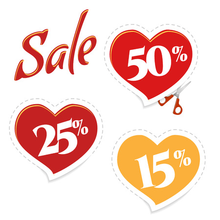 cutting sticker: Cutting sticker discounts. Sale banner red heart, scissors. Sale and special offer. Up to 25. 15. 50 off.