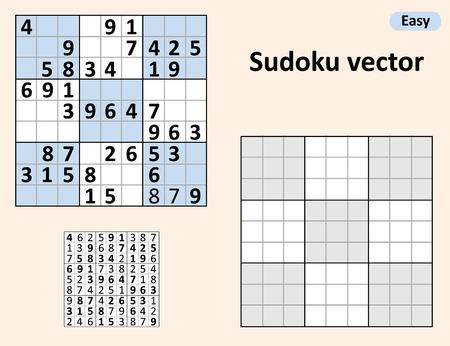 Simmetrico Sudoku con le risposte. Vector set Sudoku. Modello vuoto.