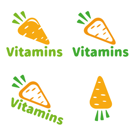 carrots isolated: The icon vitamins carrots. Carrots isolated on a white background. Illustration of a carrot, a healthy food. Illustration