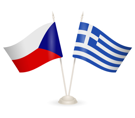 between: Table stand with flags of Greece and Czech Republic. Symbolizing the cooperation between the two countries. Illustration