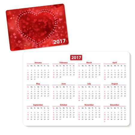 pocket pc: Horizontal pocket calendar on 2017 year. Vector template pocket calendar with illustration cover.