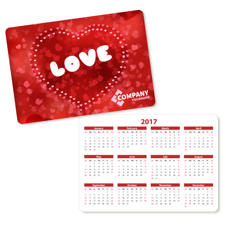 pocket pc: Horizontal pocket calendar on 2017 year. Vector template pocket calendar with illustration red heart and text love. Illustration