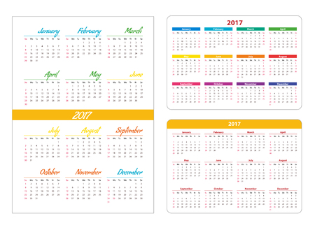 pocket pc: Horizontal pocket calendar on 2017 year. Vector template calendar for business on white background. Illustration