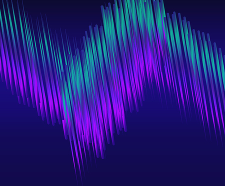 northern light: Blue-green light Line on dark abstract background. Bright Line moving. Vector illustration of wave of lines. Northern lights.