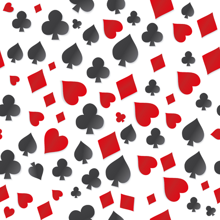 gray pattern: seamless pattern with symbol playing cards. Seamless pattern on white background. Vector pattern with card suits, clubs, hearts, diamonds, spades,