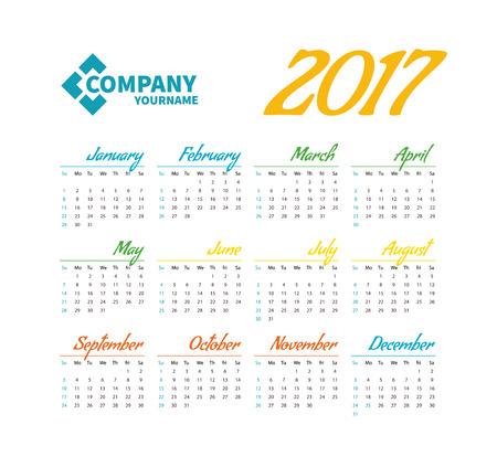 Horizontal Pocket Calendar On 2017 Year Vector Template Calendar