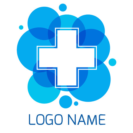 Logo Pharmacies and medicine. Blue plus symbol. template design logo Medical pharmacy.