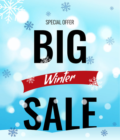 Sale banner on light blue background with snowflakes. Text - Big winter sale, special offer. Sale vector. Sale new year poster.
