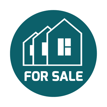 house for sale: sign Sold, For sale. Illustration