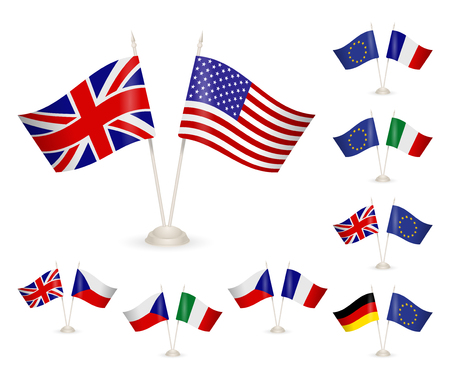 SET - Table stand with flags. Illustration