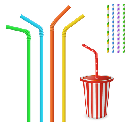 Straw for beverage. Striped and colorful straws. Drinking straws isolated on a white background. Plastic fastfood cup for beverages with straw.