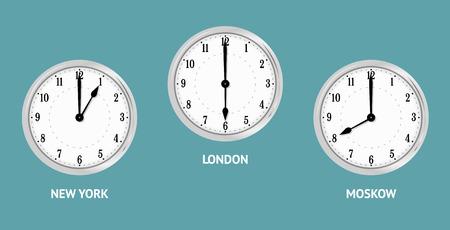 Wanduhr zeigen Ortszeit. Zeitzonen Städte New York, Moskau, London. Vector Illustration Vektorgrafik