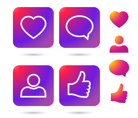 Color gradient icon template. illustration on white background for your social media app design project and other.