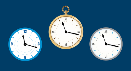 collection icon of clock. Wall clock vector illustration, Flat.