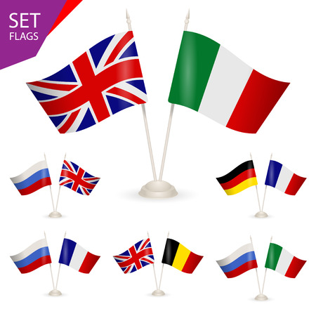 european community: SET - Table stand with flags. Illustration