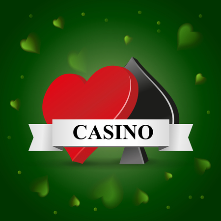 preference: Vector illustration on a casino theme. preference symbols and cards. Background green cloth for casino.