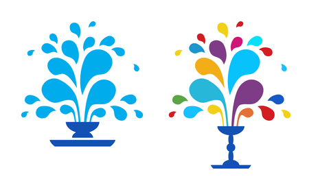 Set vector icon fountain. Logo design template fountain and drop. Blue fountain isolated on white background. A fountain of drops of paint. The festival of colors. Illustration