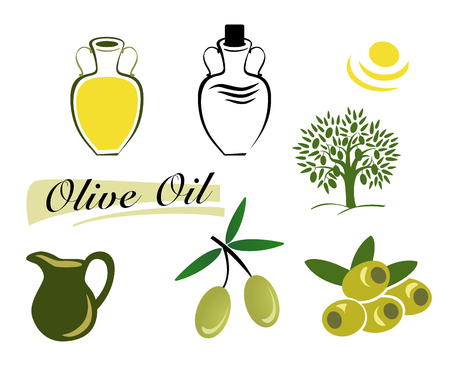 The set of elements of olive oil. Branch with green olives, Bottle of oil, the Olive tree. Vector illustration on a white background.