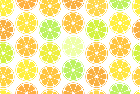 Simple seamless pattern, oranges,  tangerines, lemon and lime on a white background. For your business projects for web or print.Cut slices of orange and citrus.