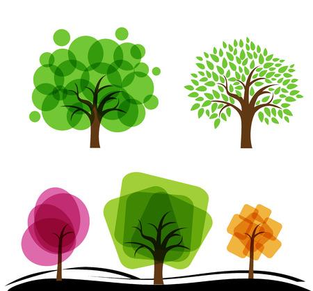 Set di alberi astratti. Alberi con cerchi e quadrati. Vector l'illustrazione del giardino con gli alberi astratti della frutta. Vettoriali