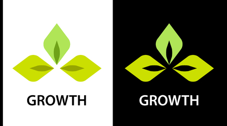 The icon for the company engaged in the cultivation of plants. Sign of green leaves on white and black background. Colorful leaves icon concept for web or print.